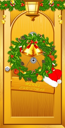 illustration of wreath with santa cap on door welcoming christmas illustration