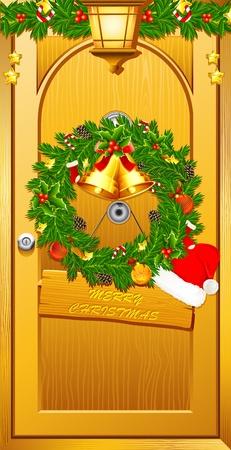 illustration of wreath with santa cap on door welcoming christmas illustration