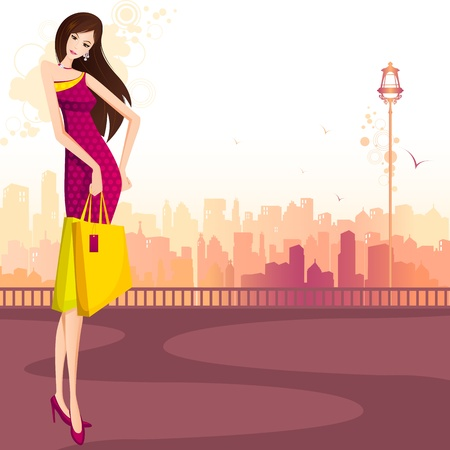 glamour shopping: illustration of lady with shopping bag standing on street