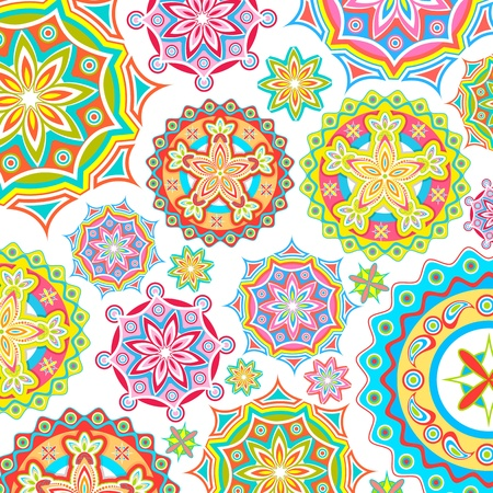 rangoli: illustration of colorful floral pattern in retro style