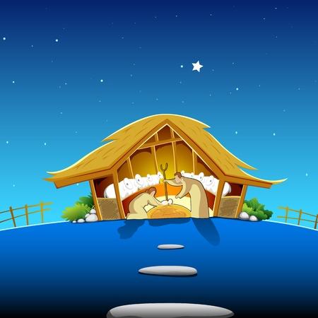 guardería: ilustración de la escena de la natividad que muestra el nacimiento de Jesús