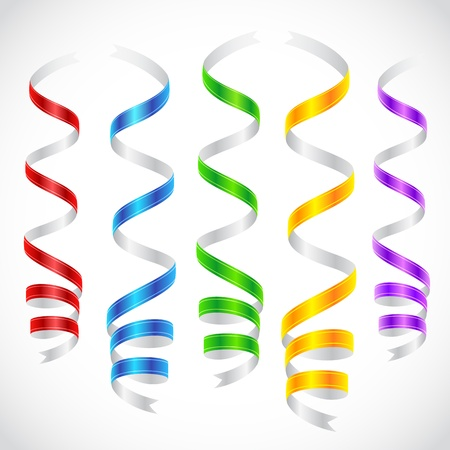 streamers: illustration of colorful party steamer hanging on abstract background