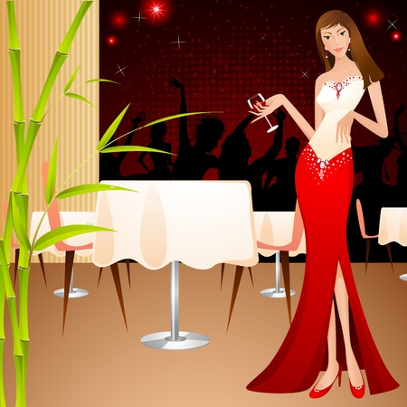 nightclub bar: illustration of lady holding glass of drink in party background Illustration