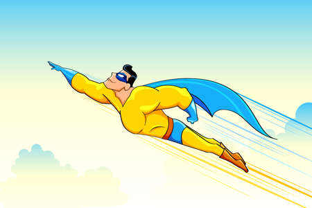 action hero: illustration of superhero wearing cape flying in sky