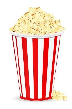 popcorn: illustration of bucket full of popcorn on white background