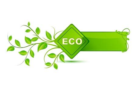 earth friendly: ilustraci�n de un icono de etiqueta ecol�gica en el fondo blanco
