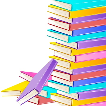 illustration of stack of colorful books on white background Stock Vector - 11376712