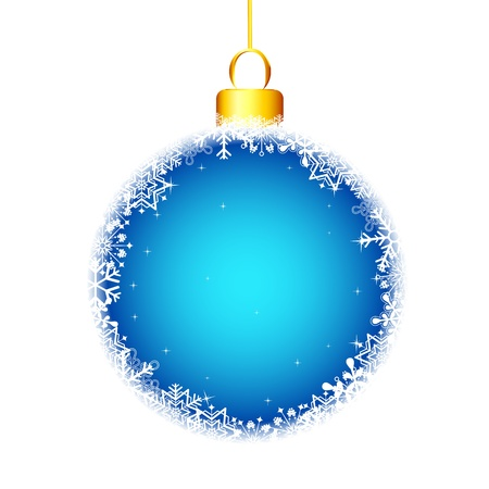 illustration of hanging snowflakes christmas ball on white background Vector