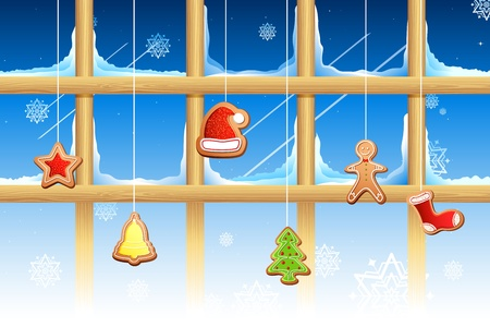 illustration of different shape cookies for christmas hanging on window Vector
