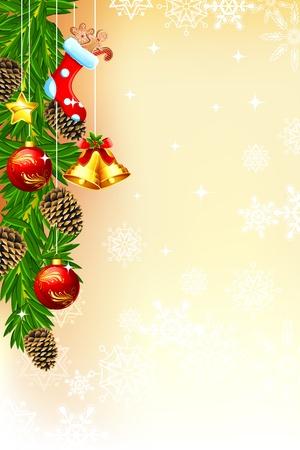 fir cone: ilustraci�n de la tarjeta de Navidad con marco decorado y la campana Vectores