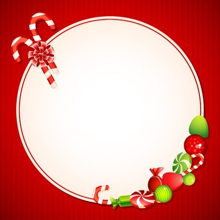 illustration of sweet candy on christmas card Vector