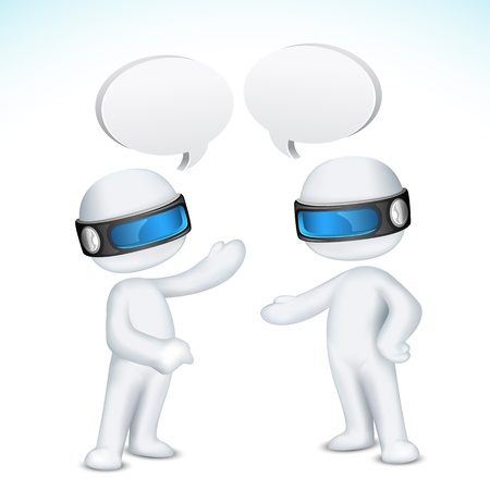 dialog balloon: illustration of 3d man in vector fully scalable talking with each other with speech bubble