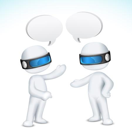 talking robot: ilustraci�n del hombre 3d en vector completamente escalable hablando unos con otros con bocadillo