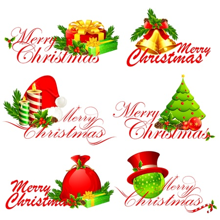 illustration of merry christmas text with different element Vector