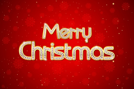 illustration of merry christmas text with diamond on gold Vector