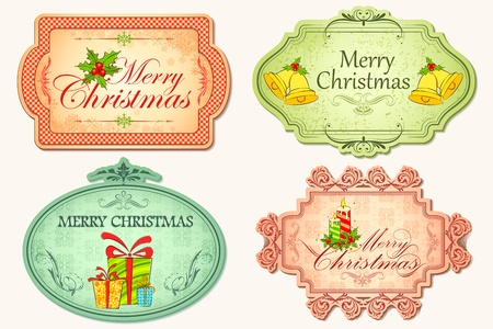 illustration of christmas sticker in vintage style Stock Illustration - 11494053