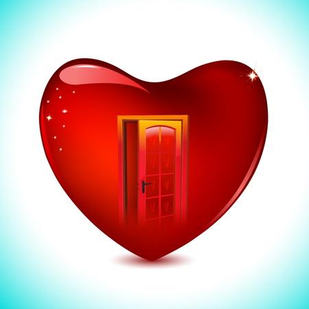 secret love: ilustraci�n de la puerta en el coraz�n en fondo abstracto