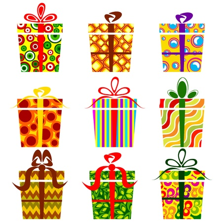 illustration of set of colorful gift boxes on isolated white background Vector
