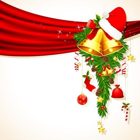 campanas: ilustración de la decoración de la Navidad que cuelga de cortina Vectores