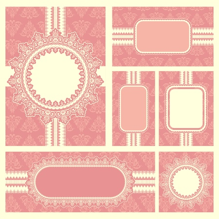 illustration of set of wedding reception invitation card Vector