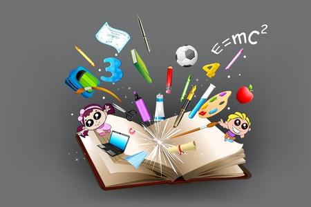 onderwijs: illustratie van de school object paaps uit open boek