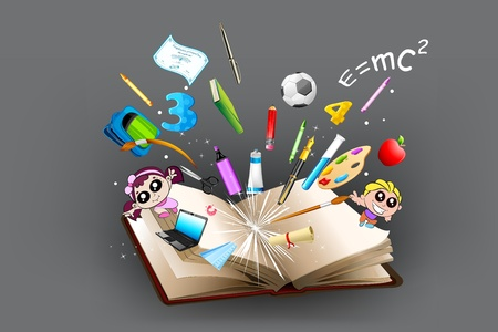 illustration of school object poping out from open book Vector
