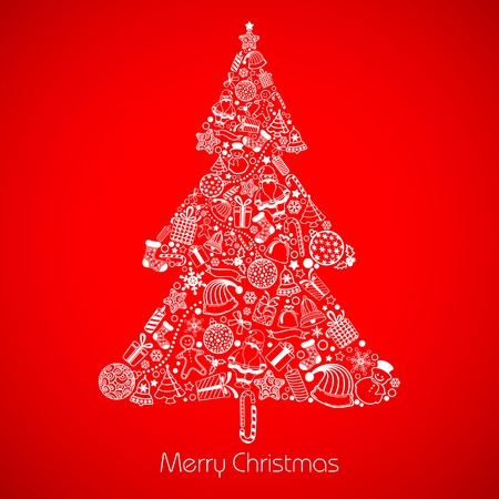 illustration of christmas tree made of different christmas element Vector