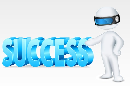scalable: illustration of 3d man in fully scalable vector showing success