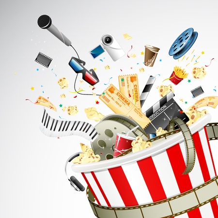 movie clapper: illustration of entertainment object popping out of popcorn bucket