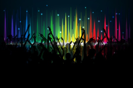 vibrations: illustration of cheering crowd on spectrum of volume waves backdrop Stock Photo