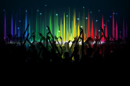 ilustración de aplausos multitud en el espectro de ondas de volumen de telón de fondo
