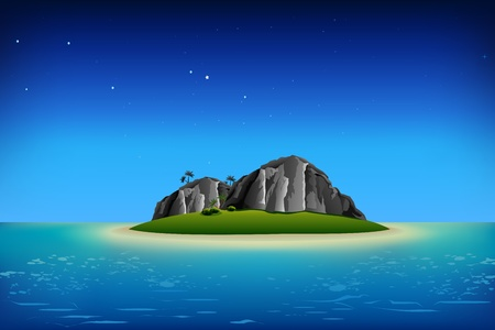 illustration of rocks on island in night view in sea Vector