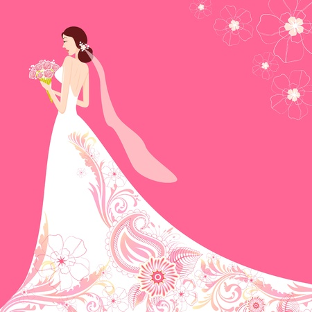 wedding gown: illustration of bride holding bouquet wearing floral wedding gown