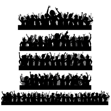 concert audience: illustration of set of cheering crowd silhouette in isolated background