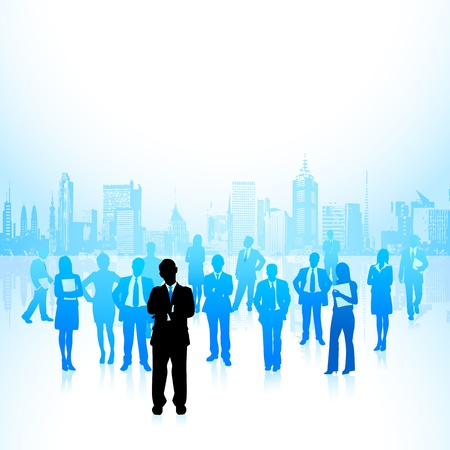 illustration of leader standing in front of corporate crowd Vector