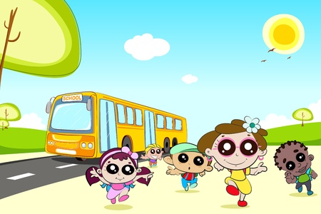 illustration of kids running in front of school bus Vector