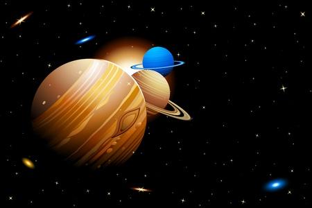 systeme solaire: illustration du syst�me solaire avec les plan�tes se d�pla�ant sur des orbites Illustration