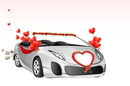 ilustración de coche de la boda decorado con flores