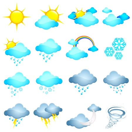 illustration of set of different weather icon in halftone style Vector