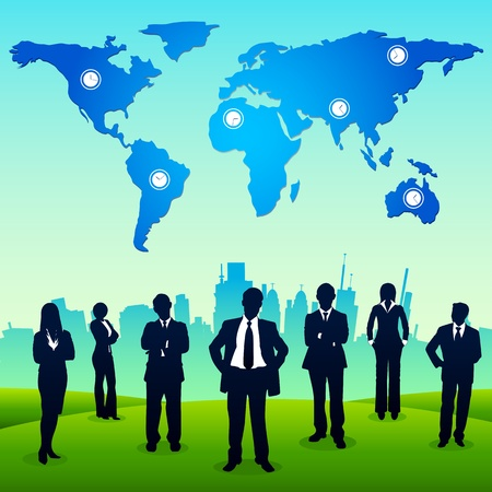 corporate building: illustration of business people standing in backdrop of urban city