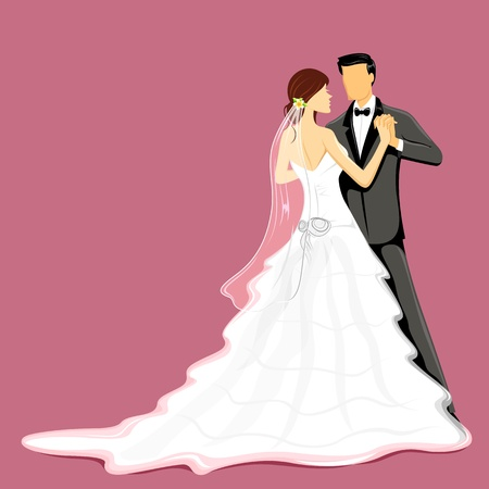 newly: illustration of newly married couple in wedding dress