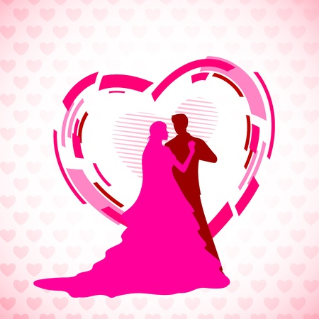 illustration of newly married couple in hearty background Vector