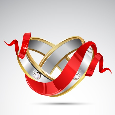 illustration of pair of engagement ring wrapped in ribbon Vector