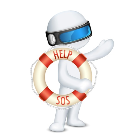illustration of 3d man in vector fully scalable holding lifebuoy tube Vector