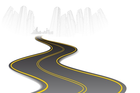 long road: illustration of road going to urban city scape