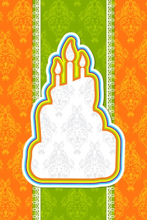 illustration of birthday card with colorful cake on floral background Stock Illustration - 11494119