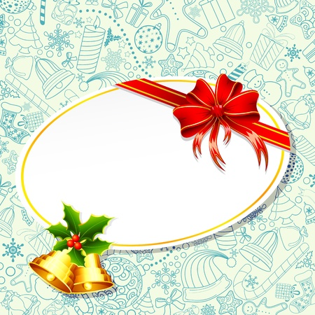 toffee: illustration of christmas decoration with gift card on floral background Stock Photo