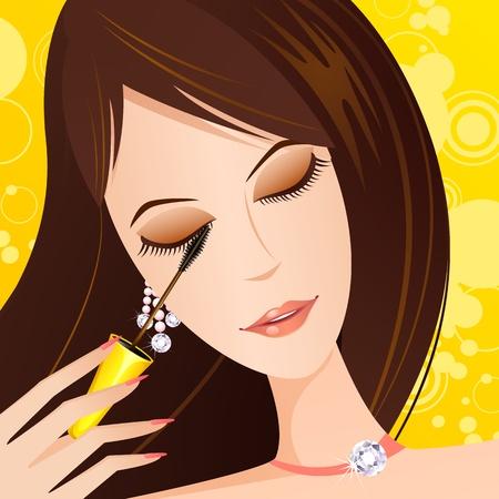 illustration de dame à la mode d'appliquer le mascara oeil Vecteurs
