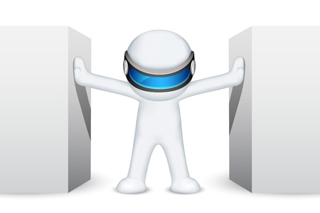 scalable: illustration of 3d man in fully scalable standing between wall