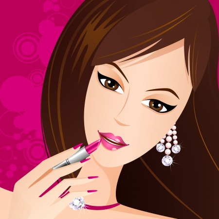 illustration of fashionable lady applying lipstick on lips Vector